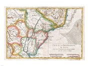 1780 Raynal and Bonne Map of Southern Brazil, Northern Argentina, Uruguay and Paraguay