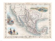 1851 Tallis Map of Mexico, Texas, and California