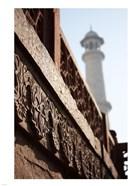 Close up of Carving at the Taj Mahal, Agra, Uttar Pradesh, India