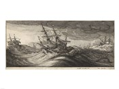Wenceslas Hollar - Warships and a Spouting Whale