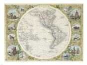 1850 Tallis Map of the Western Hemisphere