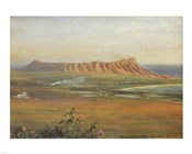 Edward Clifford (1844-1907) - 'DiamondHead, Honolulu', watercolor painting, 1888