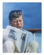 President Kennedy Reading the New York Times