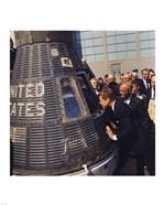 JFK Inspects Mercury Capsule