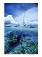 Scuba diver in the water with a sail boat in the background, British Virgin Islands