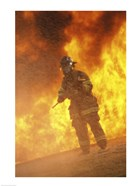 Firefighter holding an axe