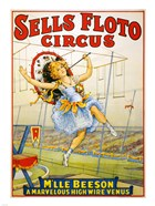 Floto Circus Presents M'lle Beeson, a marvelous high wire Venus, Performance Poster,1921