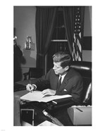 Proclamation Signing, Cuba Quarantine. President Kennedy. White House, Oval Office