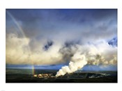 Rainbow and Eruption of Halema`uma`u Vent at Kilauea
