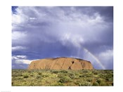 Rock formation on a landscape, Ayers Rock, Uluru-Kata Tjuta National Park, Australia