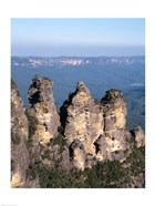 High angle view of rock formations, Three Sisters, Blue Mountains National Park, Katoomba, Australia