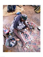 Female artist painting, Alice Springs, Northern Territory, Australia