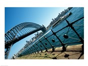 Low angle view of a bridge at a harbor, Sydney Harbor Bridge, Sydney, New South Wales, Australia