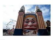 Low angle view of the entrance to an amusement park, Luna Park, Sydney, New South Wales, Australia