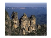 High angle view of rock formations, Three Sisters, Blue Mountains, New South Wales, Australia