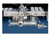 Close-up view of a section of the International Space Station