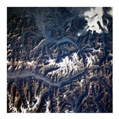 Swiss alps from space taken by Atlantis