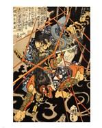 Li Hayata Hironao grappling with the monstruos nue