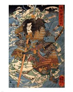 Samurai riding the waves on the backs of large crabs