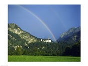 Rainbow over a castle, Neuschwanstein Castle, Bavaria, Germany