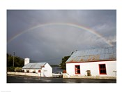 Rainbow over a cottage, Cloonee Lakes, County Kerry, Munster Province, Ireland