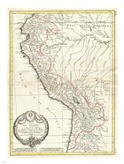 1775 Bonne Map of Peru, Ecuador, Bolivia, and the Western Amazon
