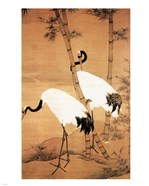 Bian Jingzhao Bamboo and Cranes