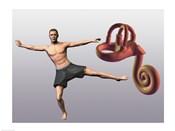 Man standing on one leg near a human ear model