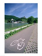 Cycle, Bicycle Path and Two Cyclists, Town View, Beilstein, Mosel Valley, Rhineland, Germany