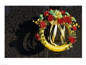 Wreath on the Vietnam Veterans Memorial Wall, Vietnam Veterans Memorial, Washington, D.C., USA