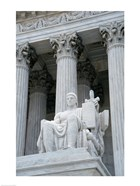 Statue at a government building, US Supreme Court Building, Washington DC, USA