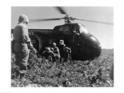 Korea, US Marine Corps, soldiers exiting military helicopter