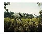 Triceratops with a tyrannosaur and a torosaurus in a forest