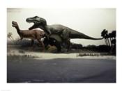 Side profile of a tyrannosaurus rex chasing an albertosaurus