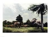 Side profile of a tyrannosaur attacking a group of anatosaurus