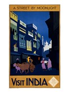 Visit India, a street by moonlight, travel poster 1920