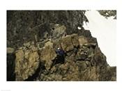 High angle view of a person mountain climbing, Ansel Adams Wilderness, California, USA