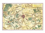 1780 Bonne Map of the Environs of Paris, France
