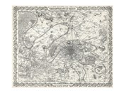 1855 City Plan of Paris, France