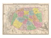 1867 colored Logerot Map of Paris, France