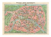 Map of Paris circa 1931 including monuments