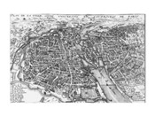 Paris bird&#39;s eye view 17th century