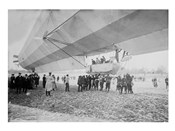 Blimp, Zeppelin on Ground With Spectators