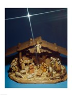 Close-up of figurines depicting a nativity scene