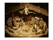 Close-up of figurines depicting a nativity scene