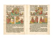 Spread from the Biblia Pauperum printed by Albrecht Pfister