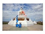 Low angle view of a statue of Buddha, Darkhan, Mongolia