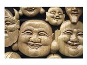 Close-up of Faces of Laughing Buddha, Vietnam