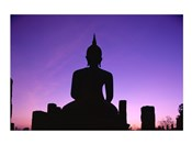 Silhouette of the Seated Buddha, Wat Mahathat, Sukhothai, Thailand