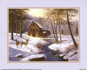 Log Cabin with Deer